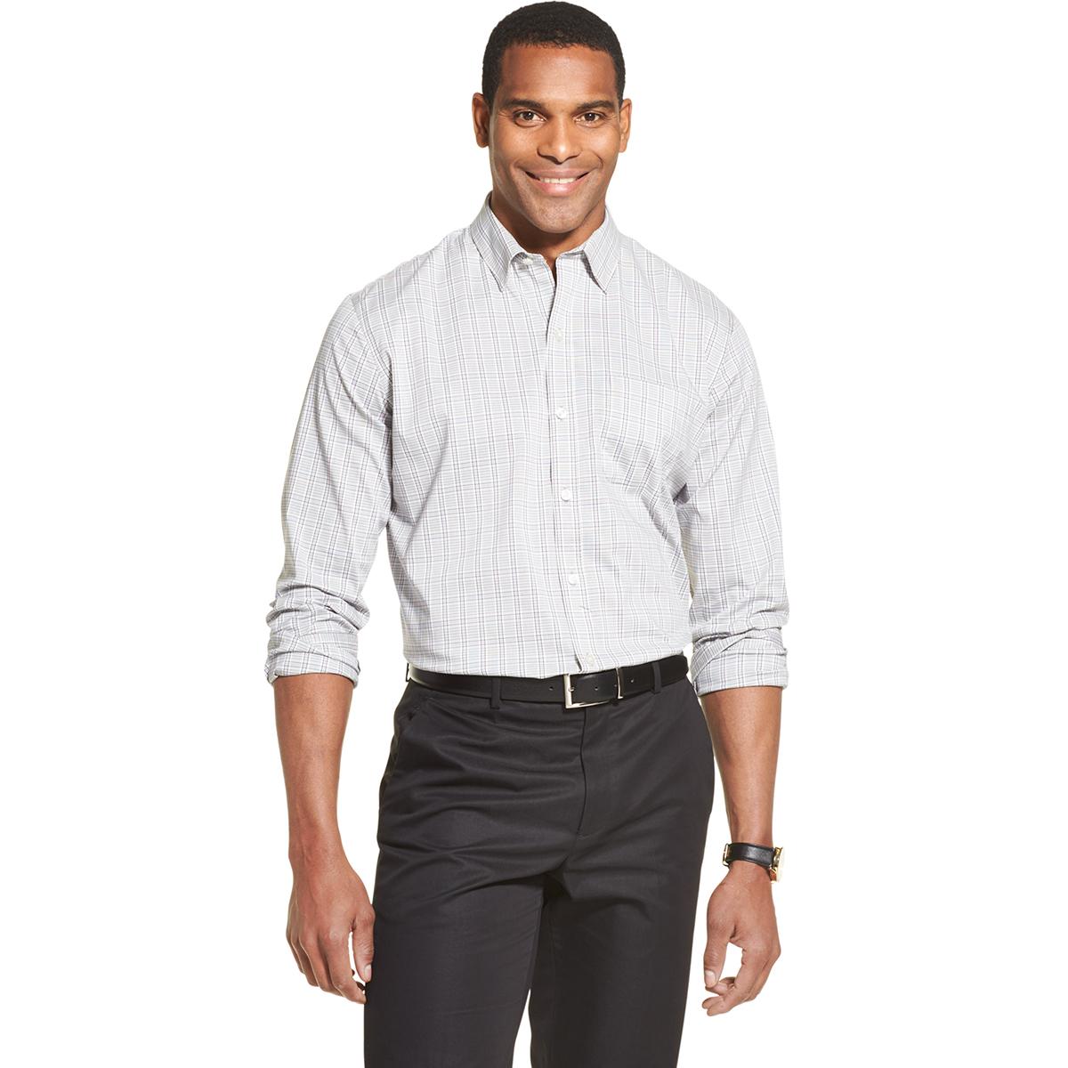 Van Heusen Men's Traveler Classic Fit Stain Shield Shirt - Purple, M