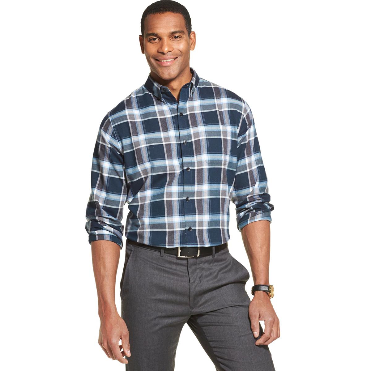 Van Heusen Men's Long-Sleeve Non Iron Plaid Button Down Shirt - Blue, M