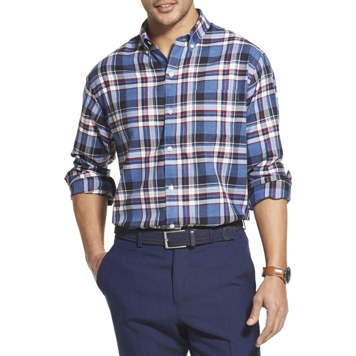 Van Heusen Men's Long-Sleeve Flex Non-Iron Button Down Shirt - Various Patterns, M
