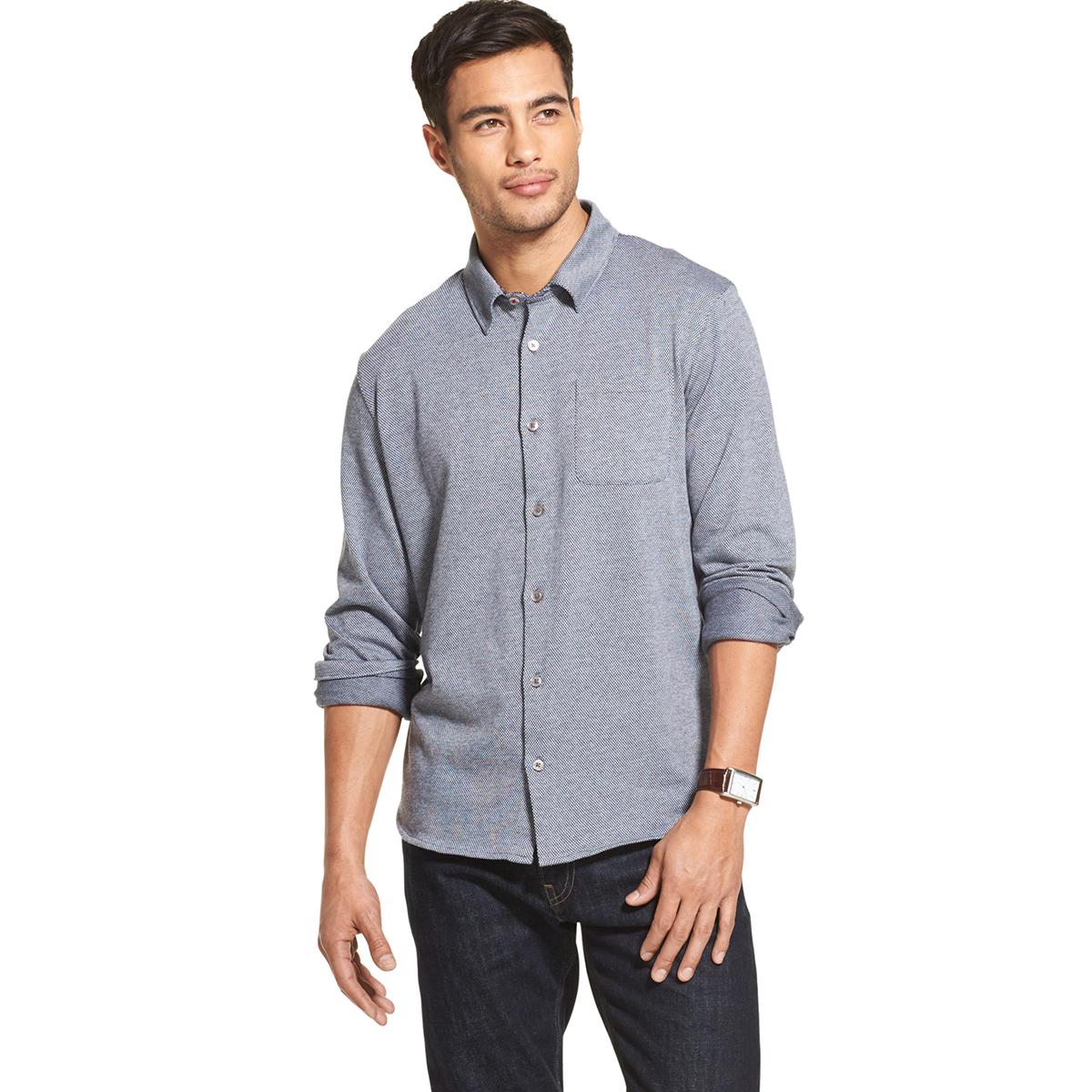 Van Heusen Men's Never Tuck Long Sleeve Jacquard Button-Front Shirt - White, M