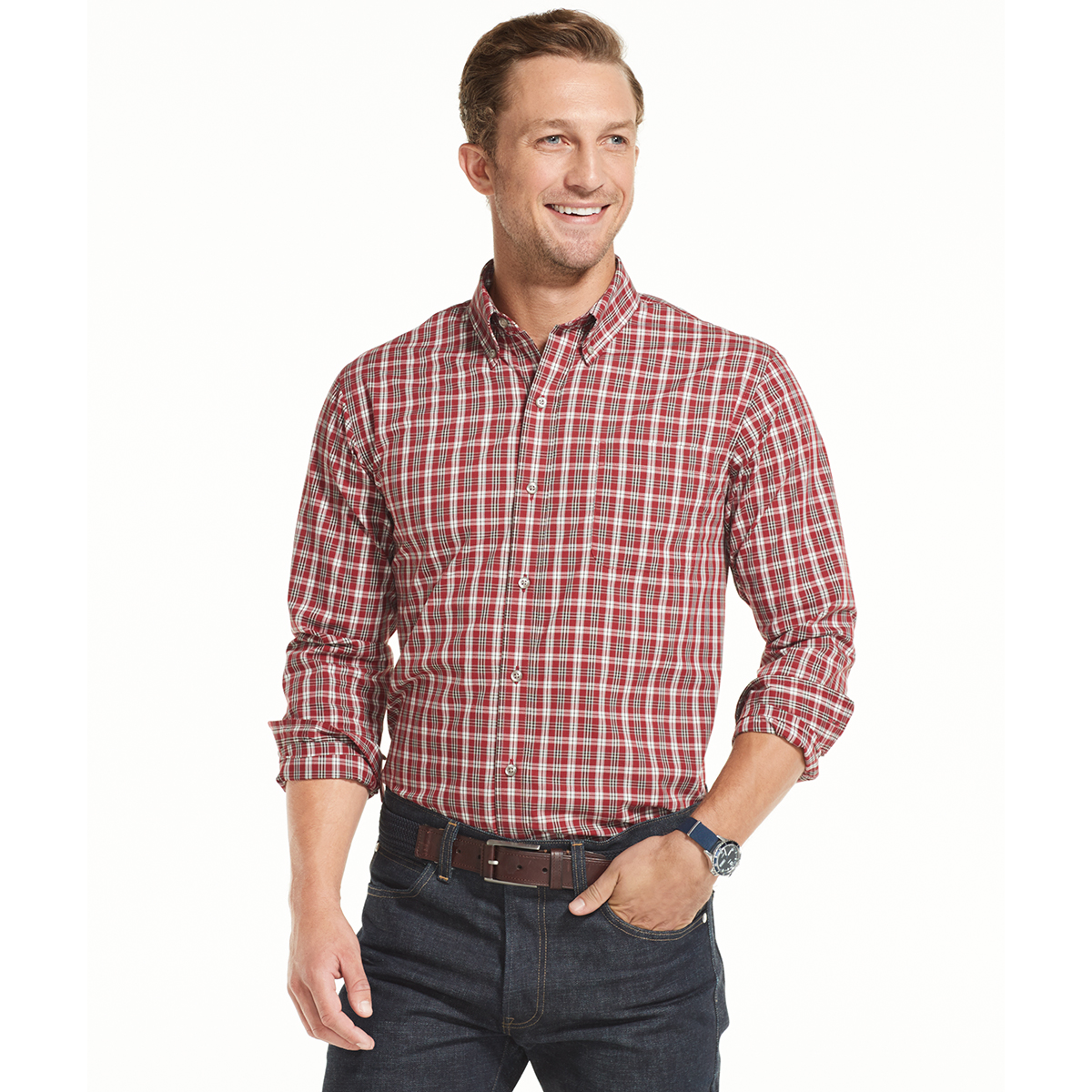 Arrow Men's Hamilton Plaid Poplin Long-Sleeve Button-Down Shirt - Red, M