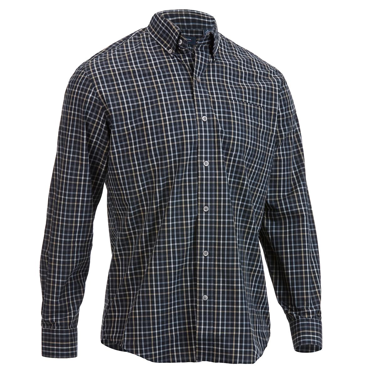 Arrow Men's Long-Sleeve Hamilton Poplin Button-Down Shirt - Black, M