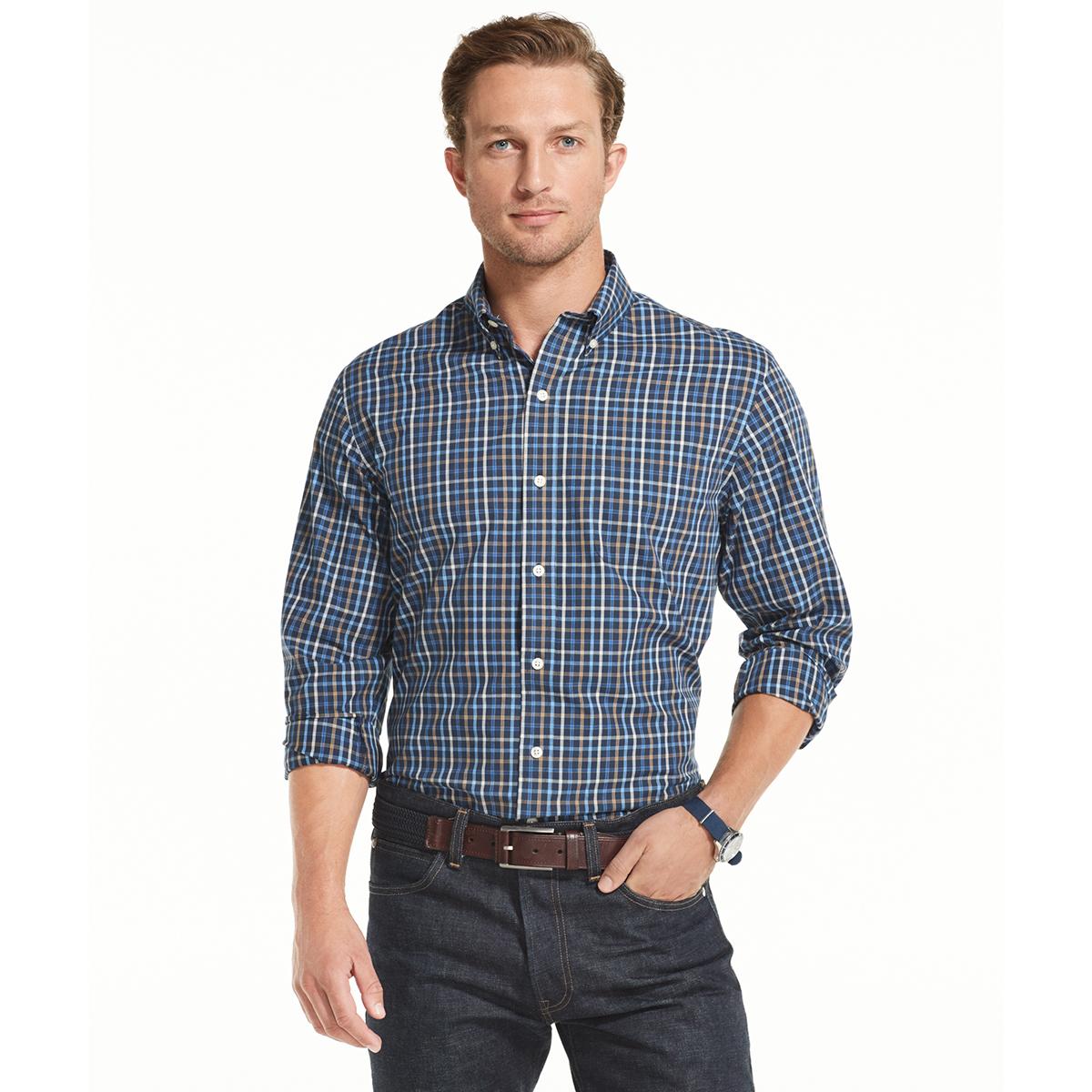 Arrow Men's Long-Sleeve Hamilton Poplin Button-Down Shirt - Blue, M