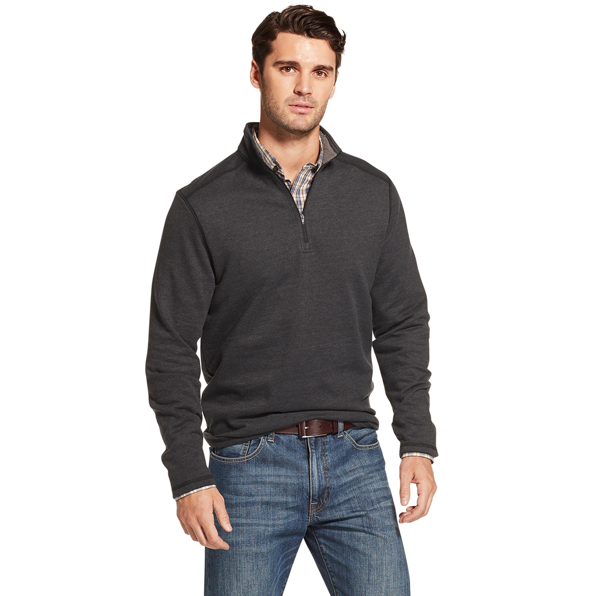 Arrow Men's Long-Sleeve Sueded Fleece 1/4 Zip - Black, M