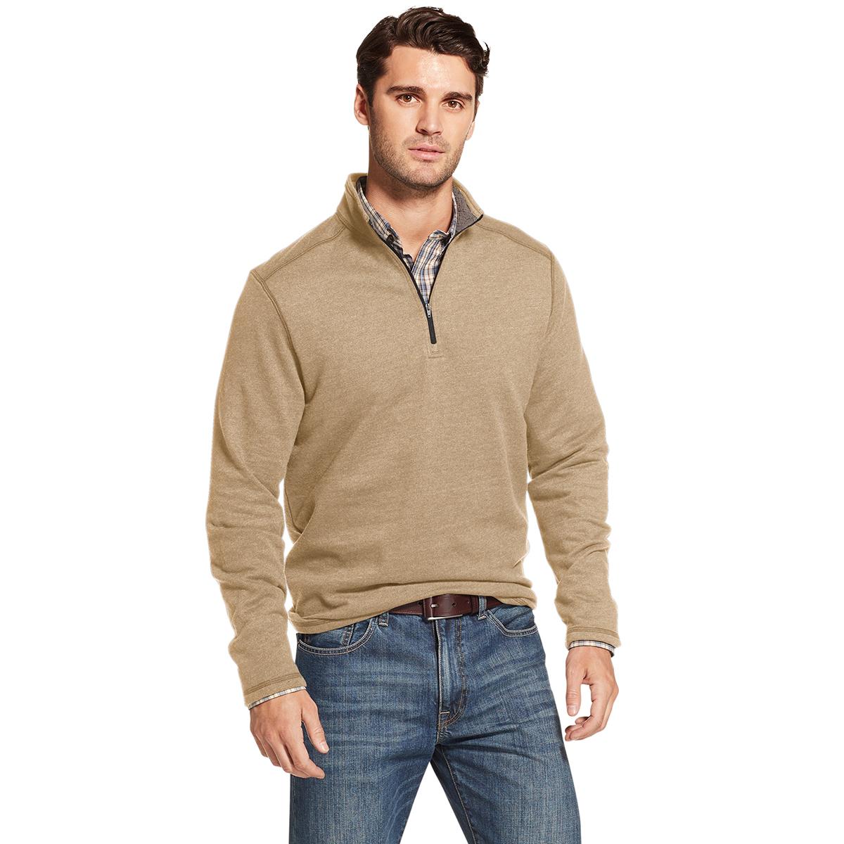 Arrow Men's Long-Sleeve Sueded Fleece 1/4 Zip - Brown, M