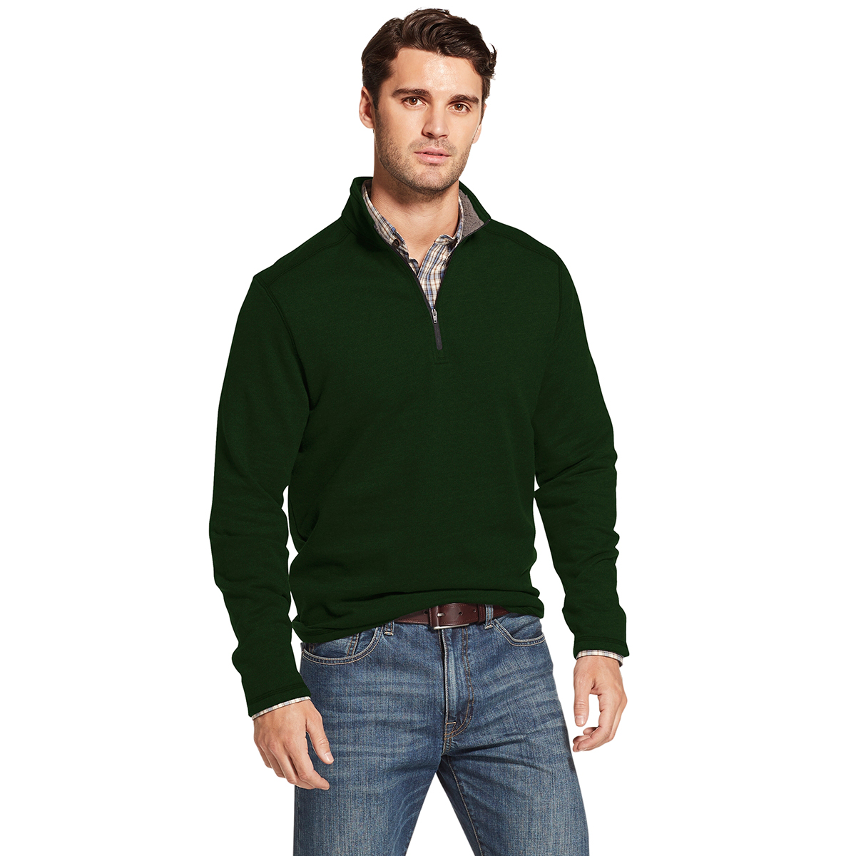 Arrow Men's Long-Sleeve Sueded Fleece 1/4 Zip - Green, M