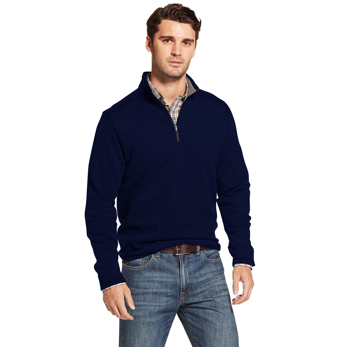 Arrow Men's Long-Sleeve Sueded Fleece 1/4 Zip - Blue, M