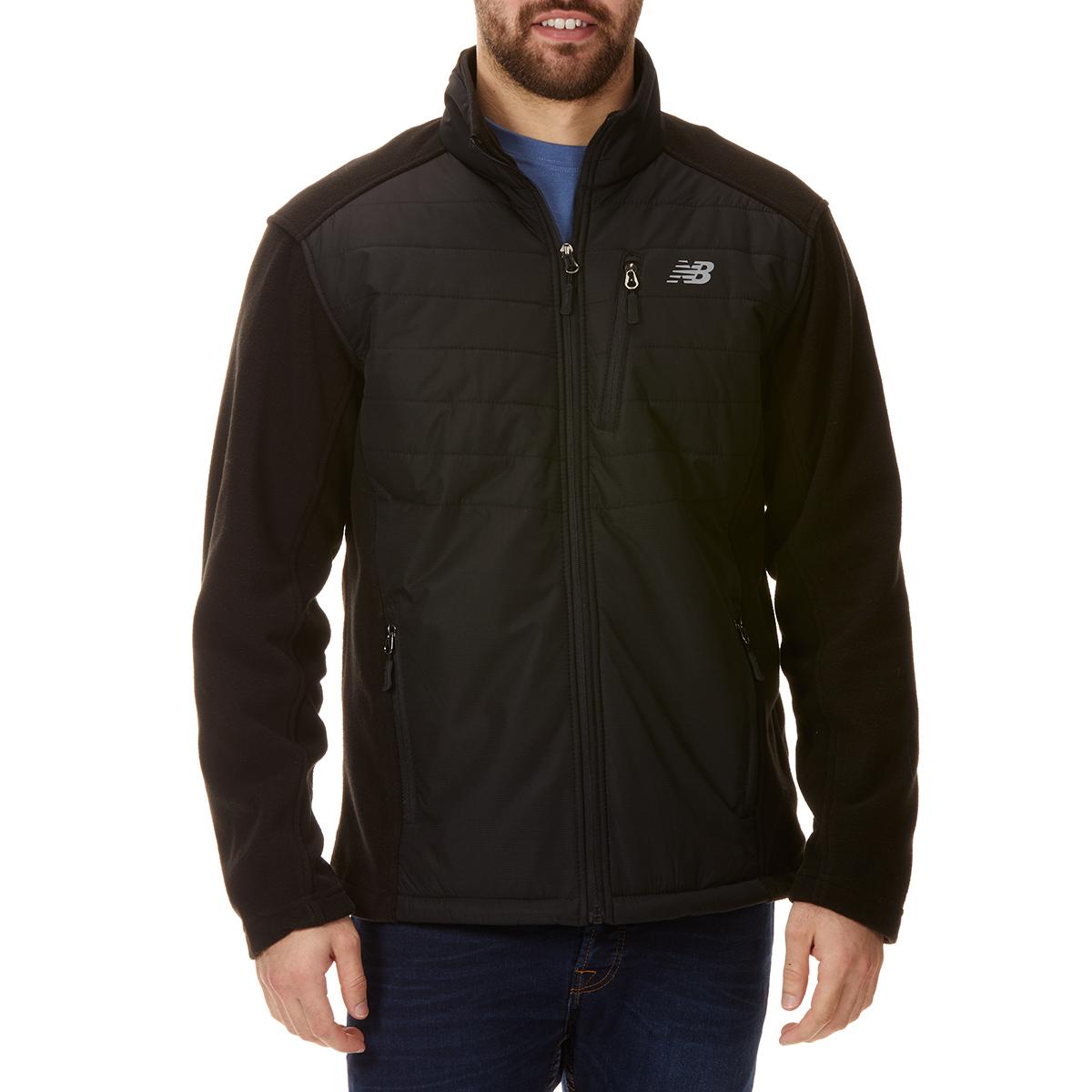 New Balance Men's Dobby Overlay Polar Fleece Jacket - Black, L