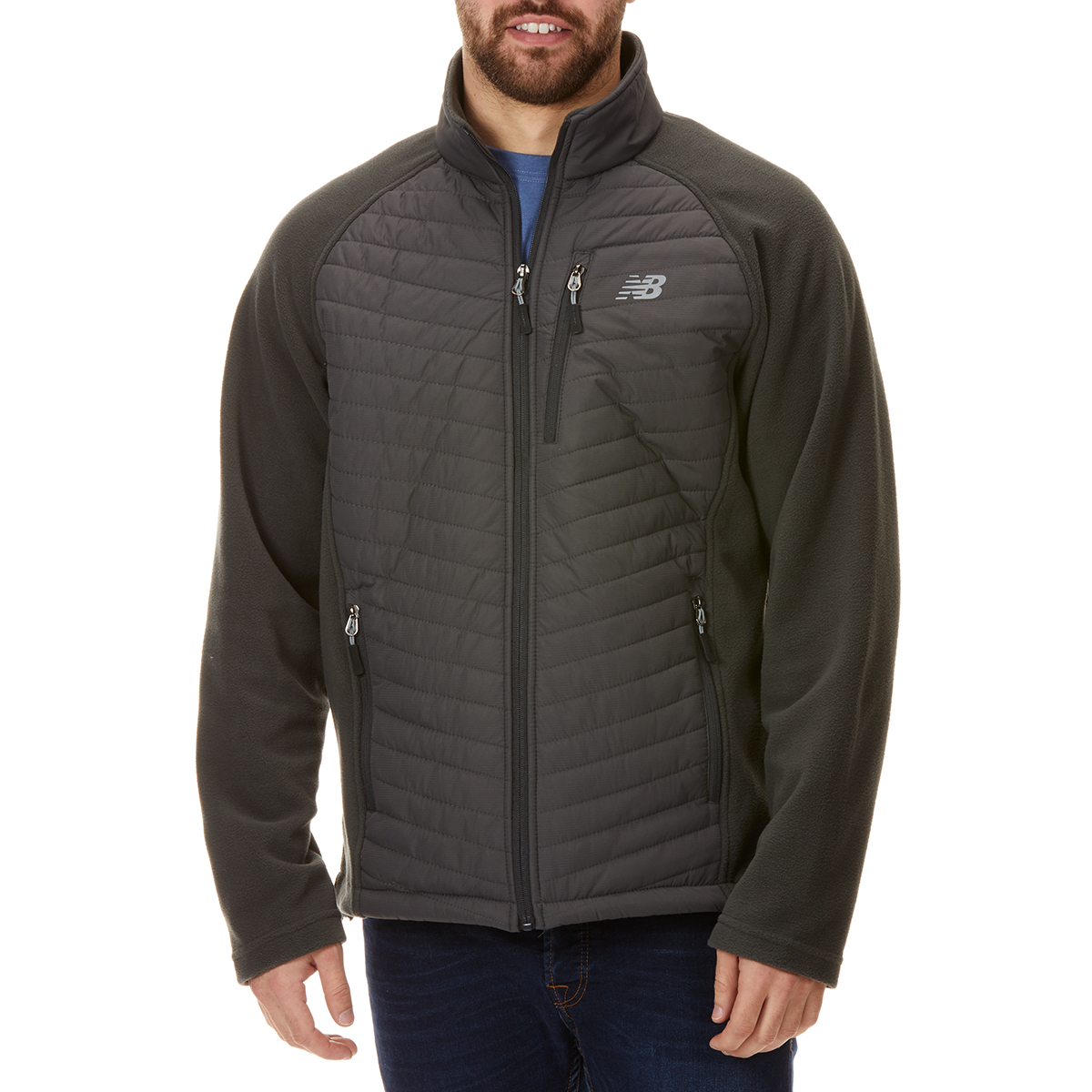 New Balance Men's Front Chevron Dobby Overlay Polar Fleece Jacket - Black, L