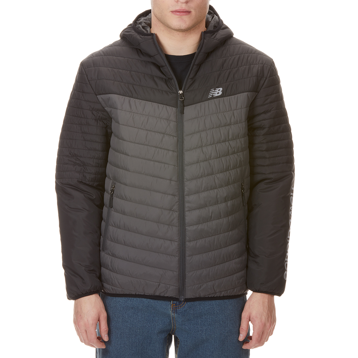 New Balence Men's Colorblocked Hooded Cire Puffer Jacket - Black, L