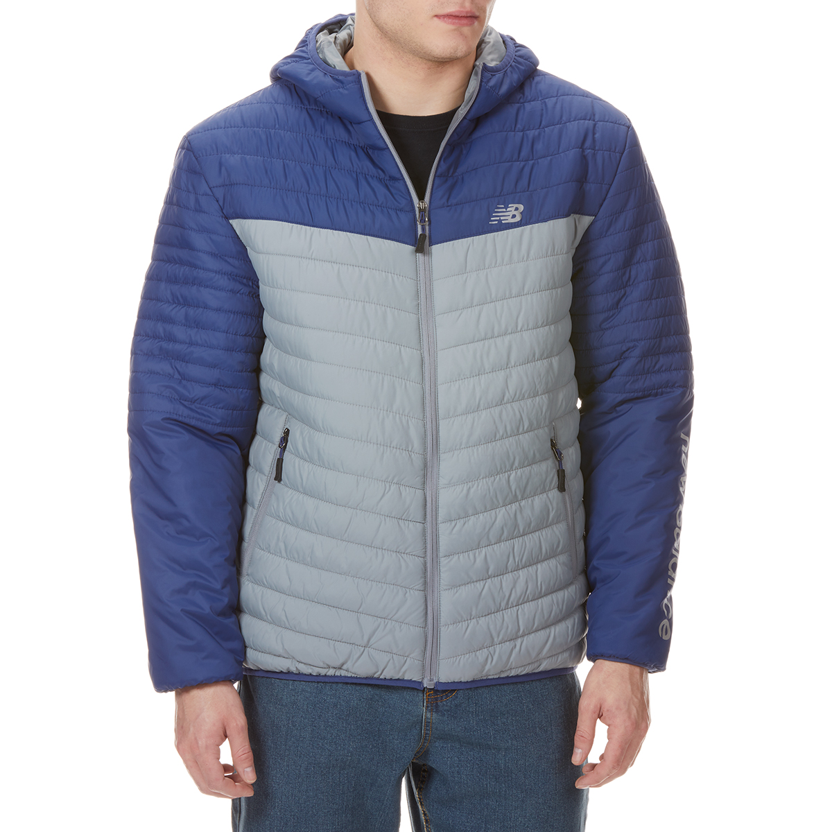 New Balence Men's Colorblocked Hooded Cire Puffer Jacket - Blue, L