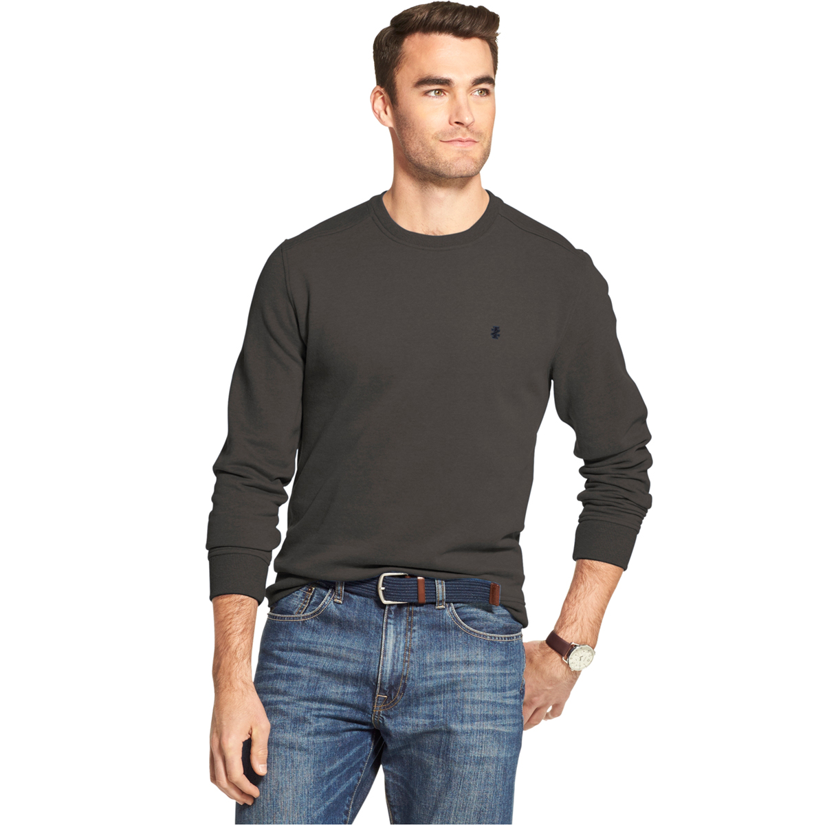 Izod Men's Long-Sleeve Supersoft Fleece Crewneck Sweater - Black, M