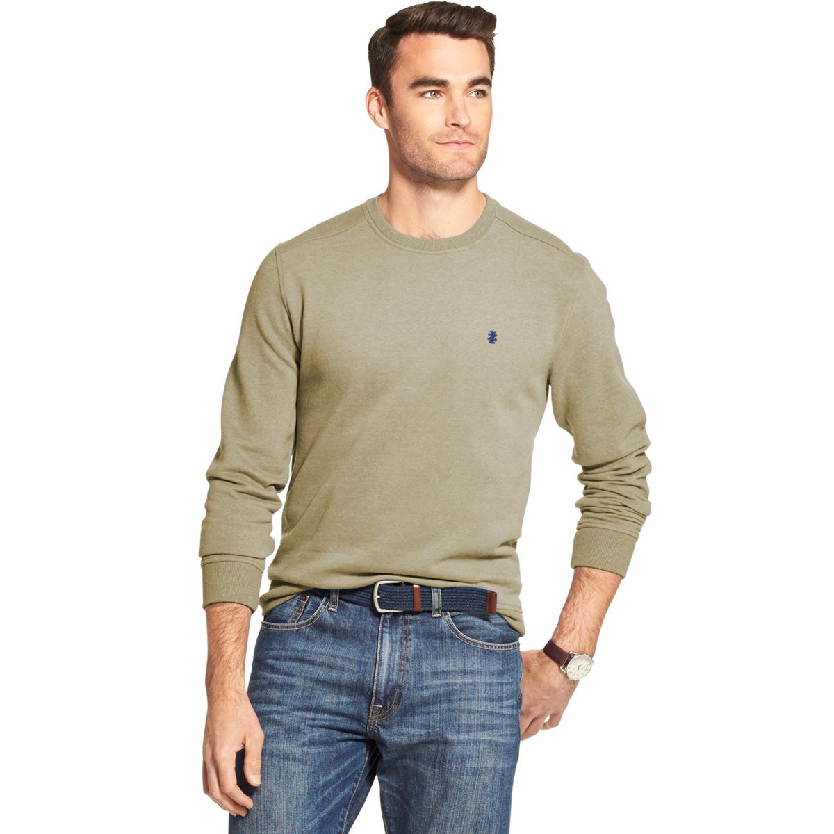 Izod Men's Long-Sleeve Supersoft Fleece Crewneck Sweater - Brown, L