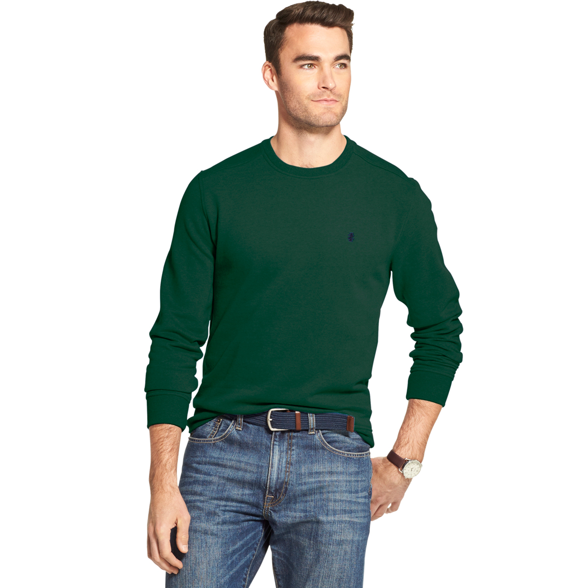 Izod Men's Long-Sleeve Supersoft Fleece Crewneck Sweater - Green, L