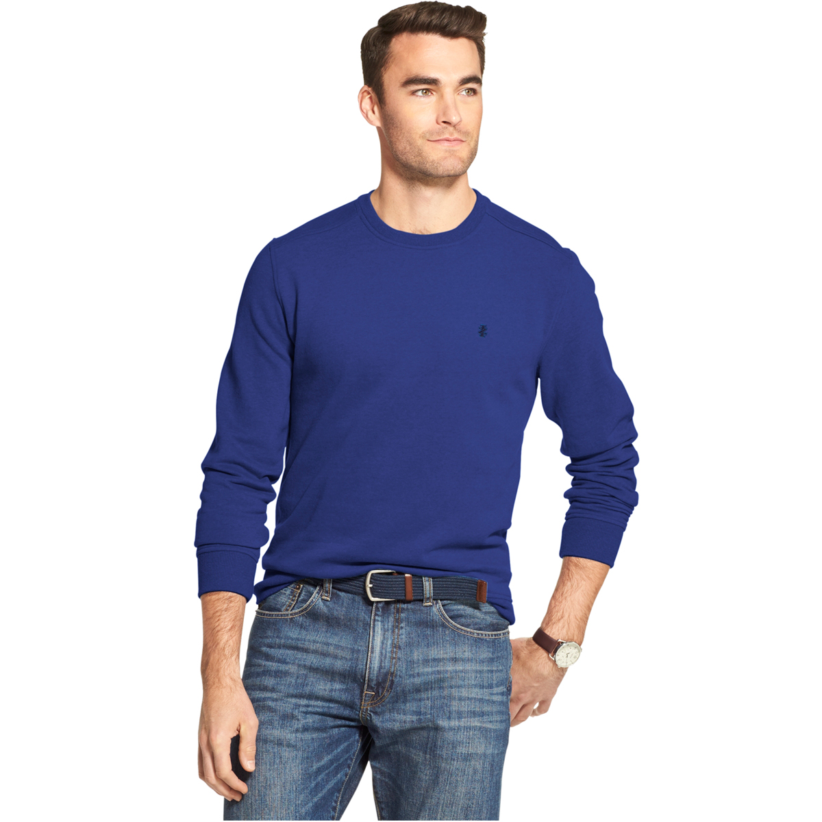 Izod Men's Long-Sleeve Supersoft Fleece Crewneck Sweater - Blue, M