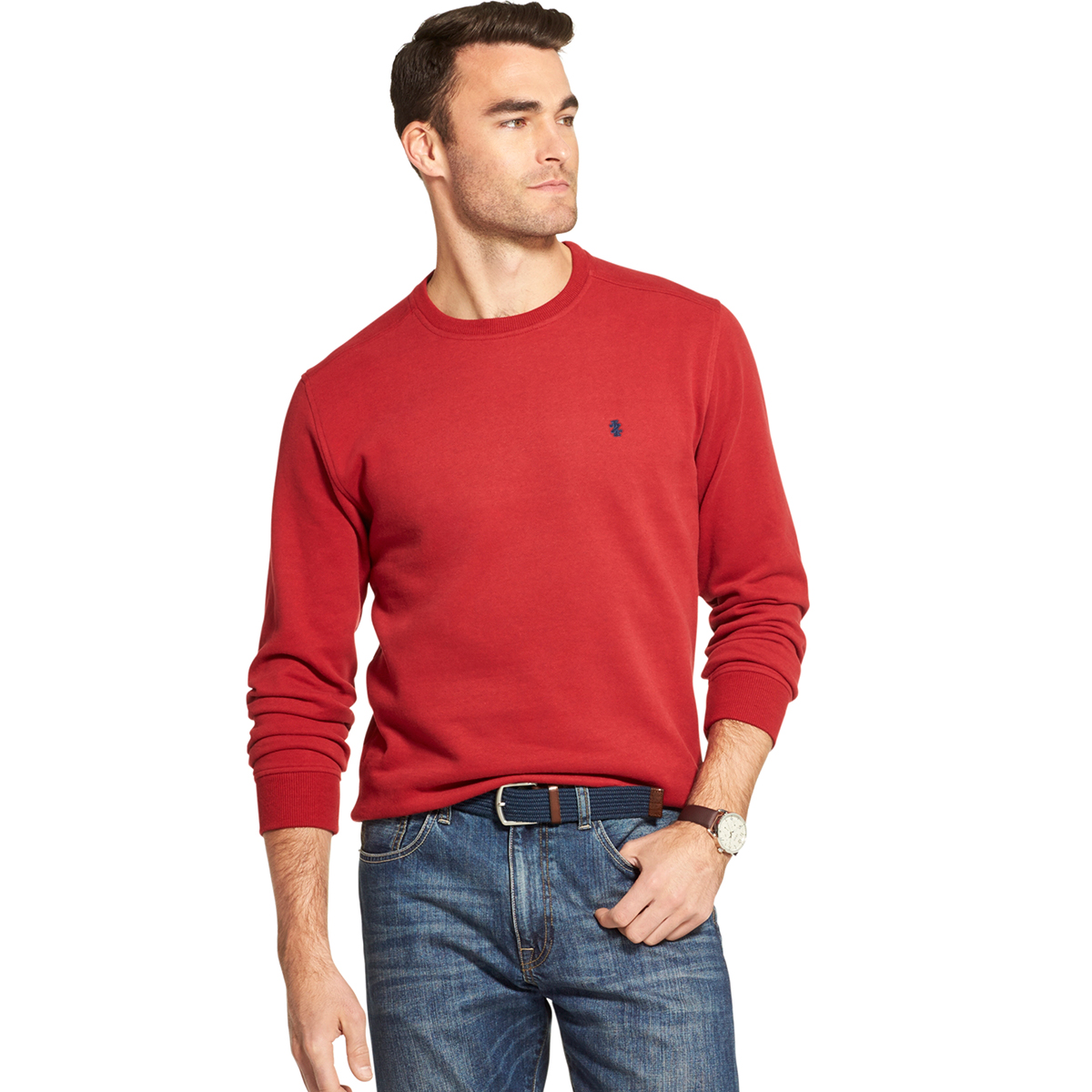 Izod Men's Long-Sleeve Supersoft Fleece Crewneck Sweater - Red, M