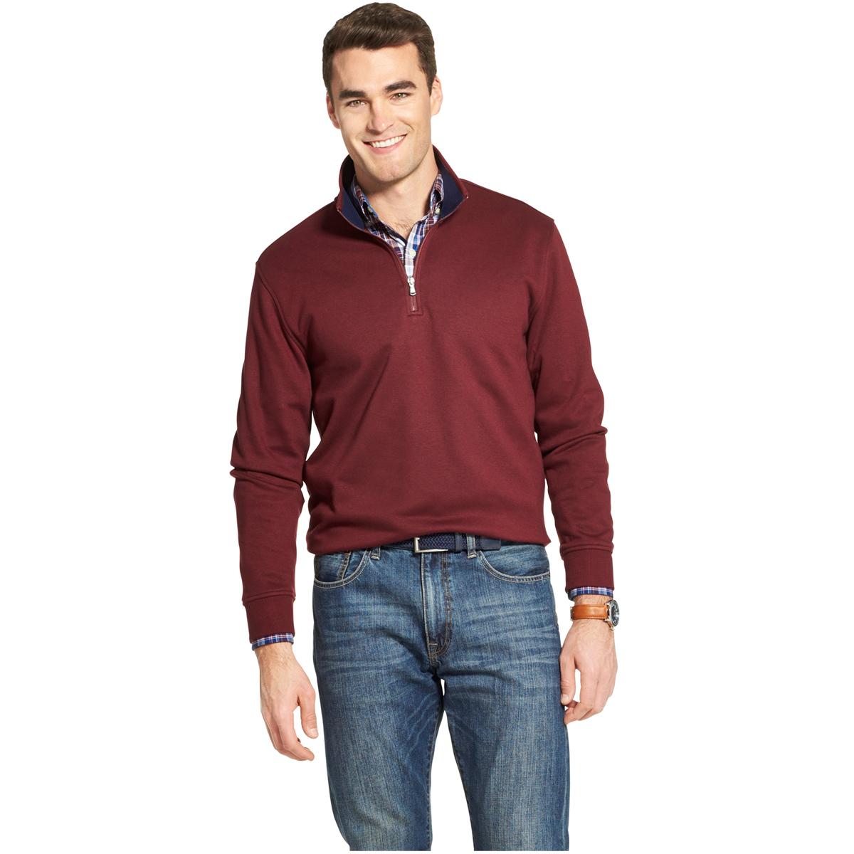 Izod Men's Long-Sleeve Advantage 1/4 Zip Fleece - Red, L