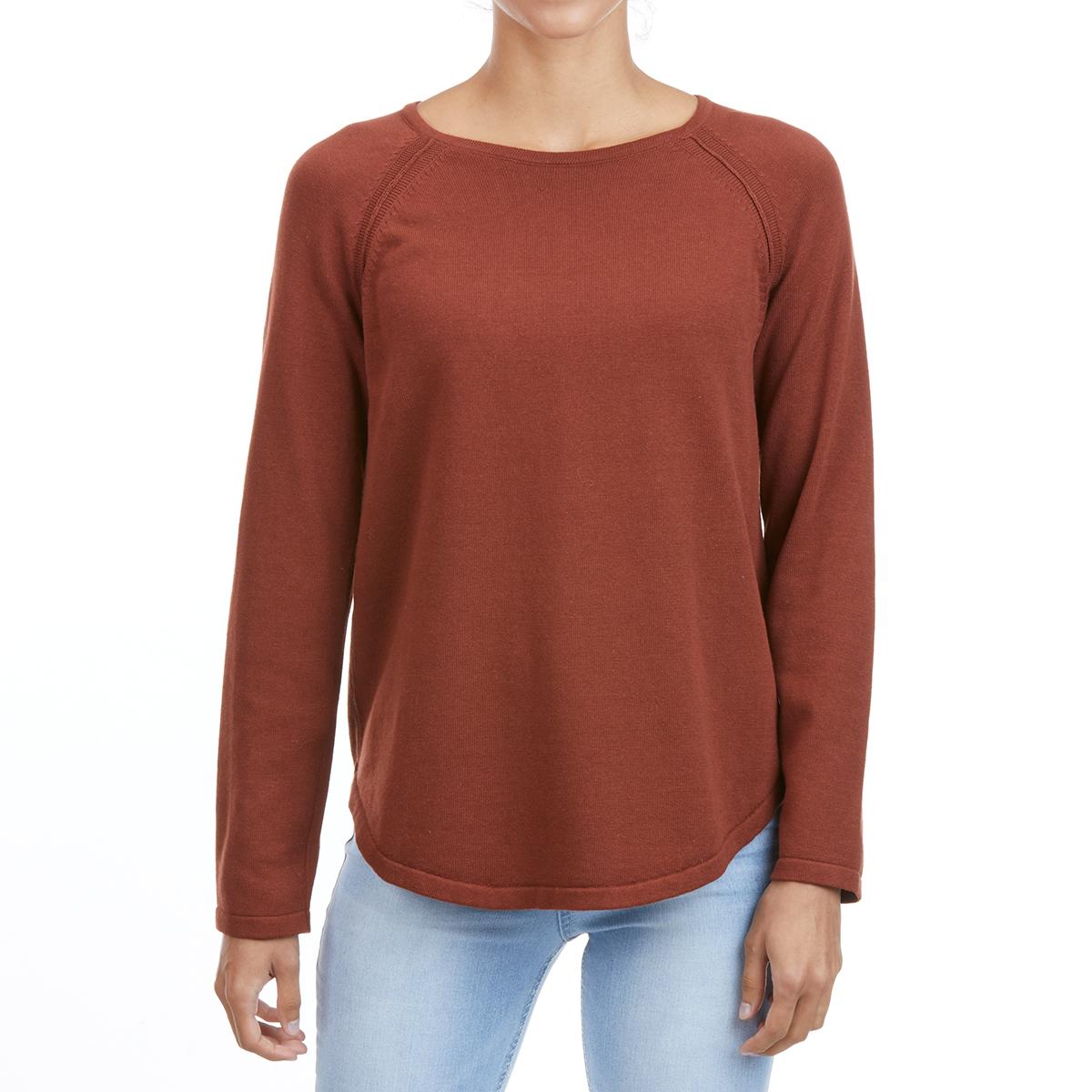 Jeanne Pierre Women's Cotton Crew Shirttail Sweater - Brown, S