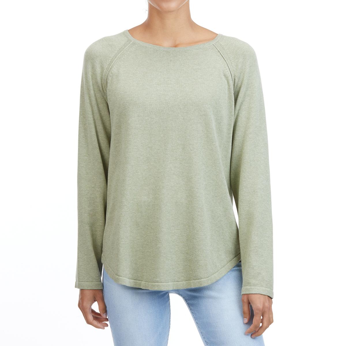 Jeanne Pierre Women's Cotton Crew Shirttail Sweater - Green, L