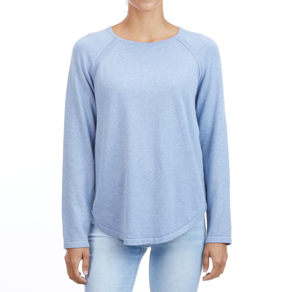Jeanne Pierre Women's Cotton Crew Shirttail Sweater - Blue, M