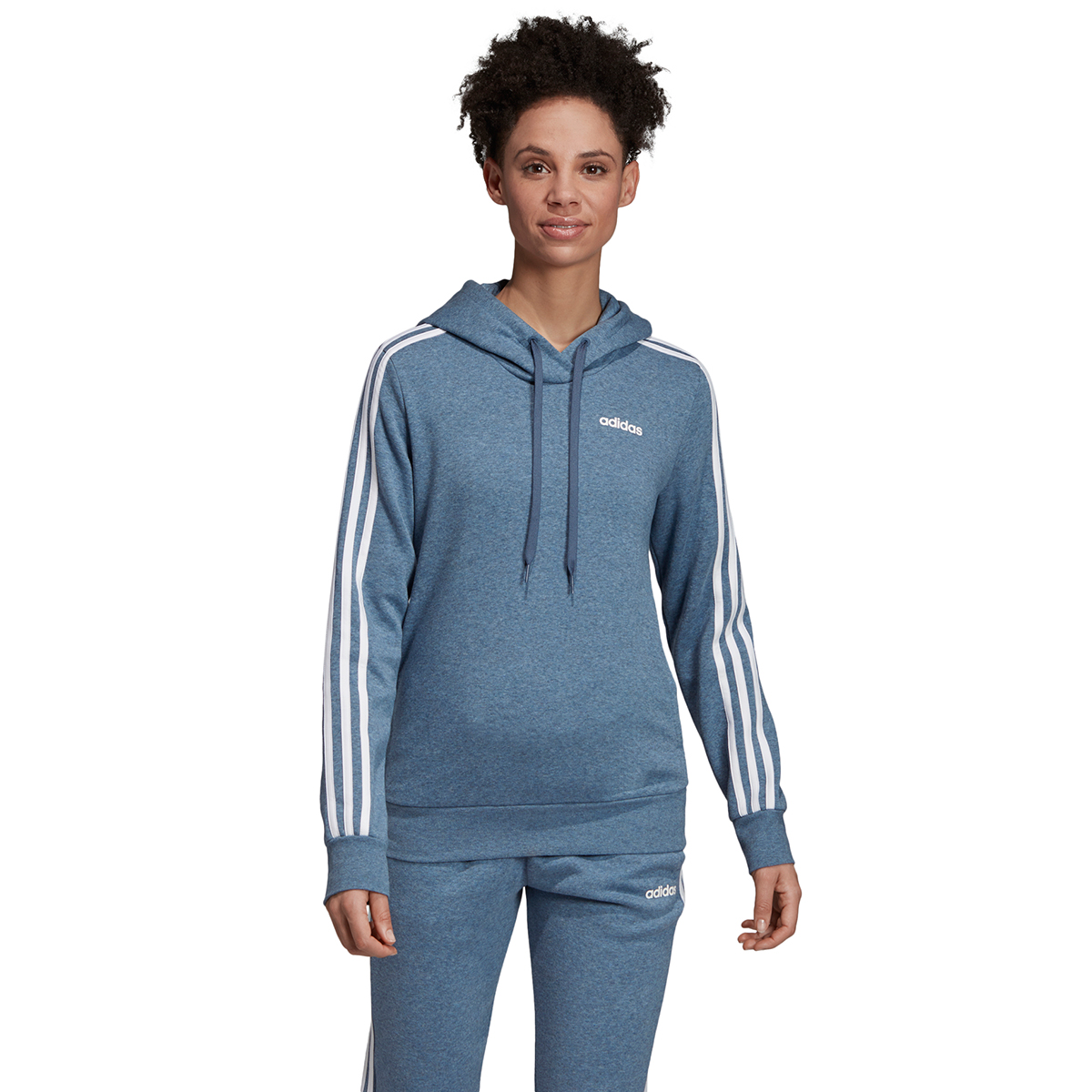Details about Adidas Women's Essentials 3 Stripes Fleece Hoodie