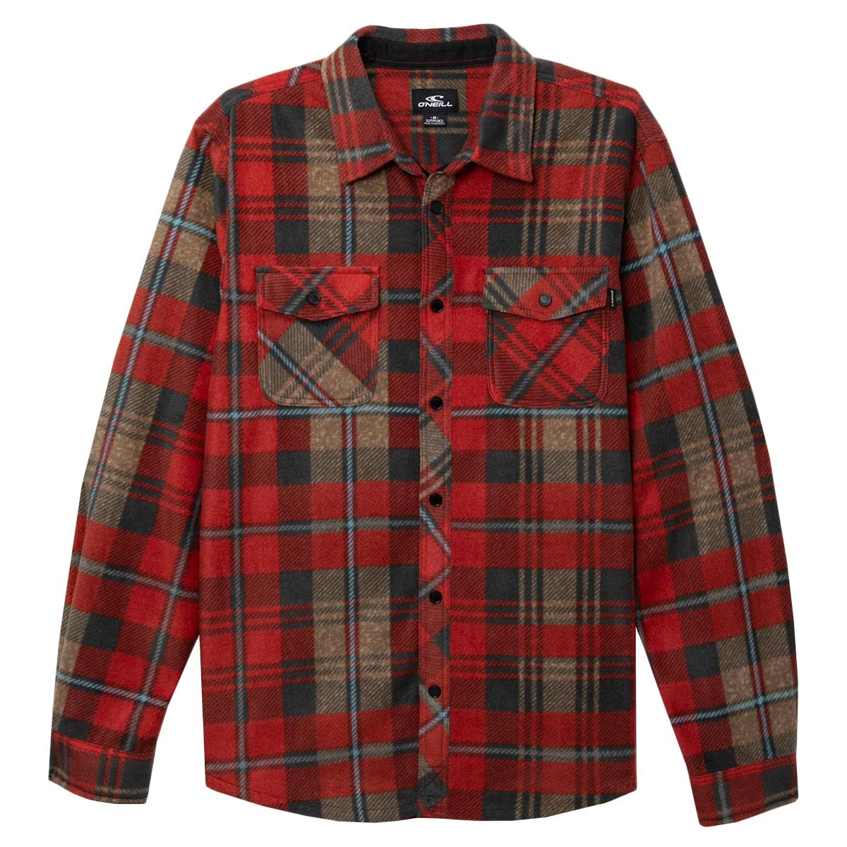 O'neill Men's Glacier Plaid Long-Sleeve Shirt - Red, S