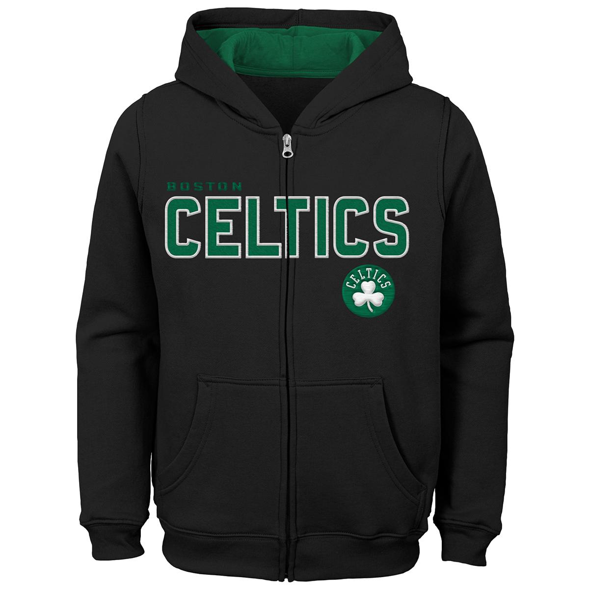 Boston Celtics Boys' Stated Full Zip Hoodie - Black, L