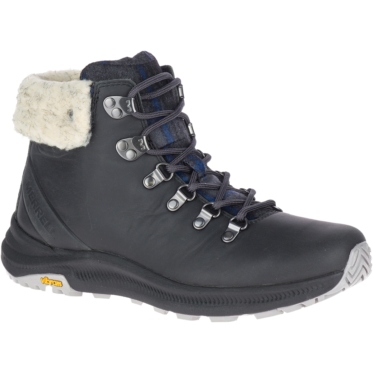 Merrell Women's Ontario X Stormy Kromer Wool Hiking Boot - Black, 7.5