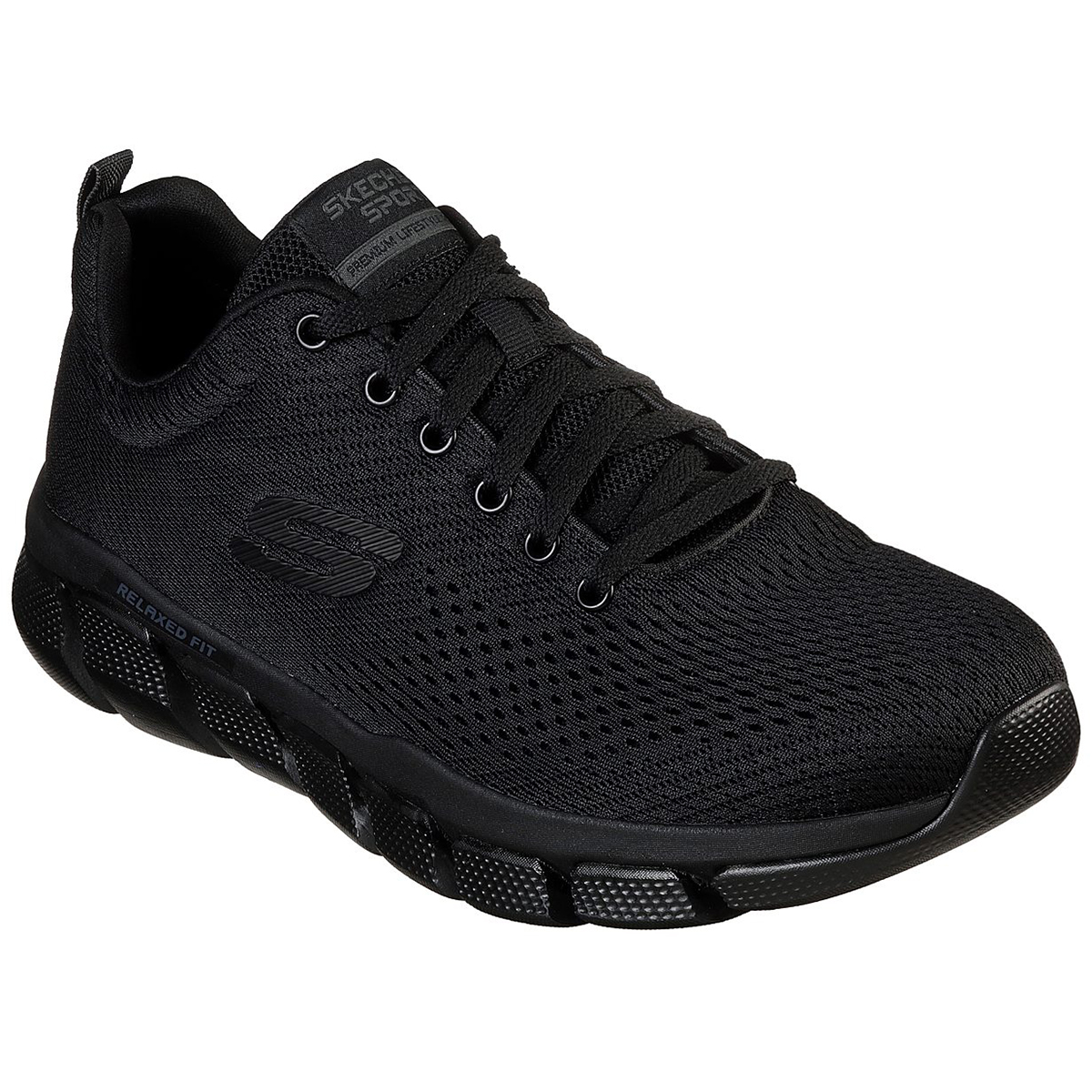 Skechers Men's Relaxed Fit Skech-Flex 3.0 Verko Lace Up Sneakers, Wide - Black, 12