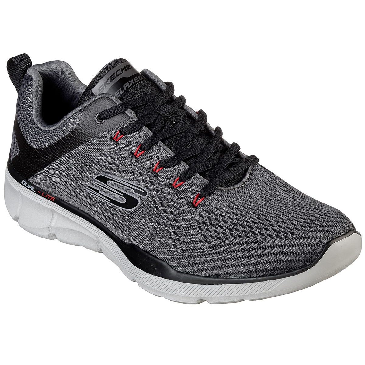 Skechers Men's Equalizer 3.0 Lace Up Shoes, Relaxed Fit - Black, 9.5