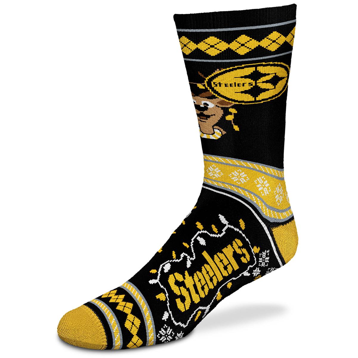 Pittsburgh Steelers Men's Sweater Stride Holiday Reindeer Socks - Various Patterns, L