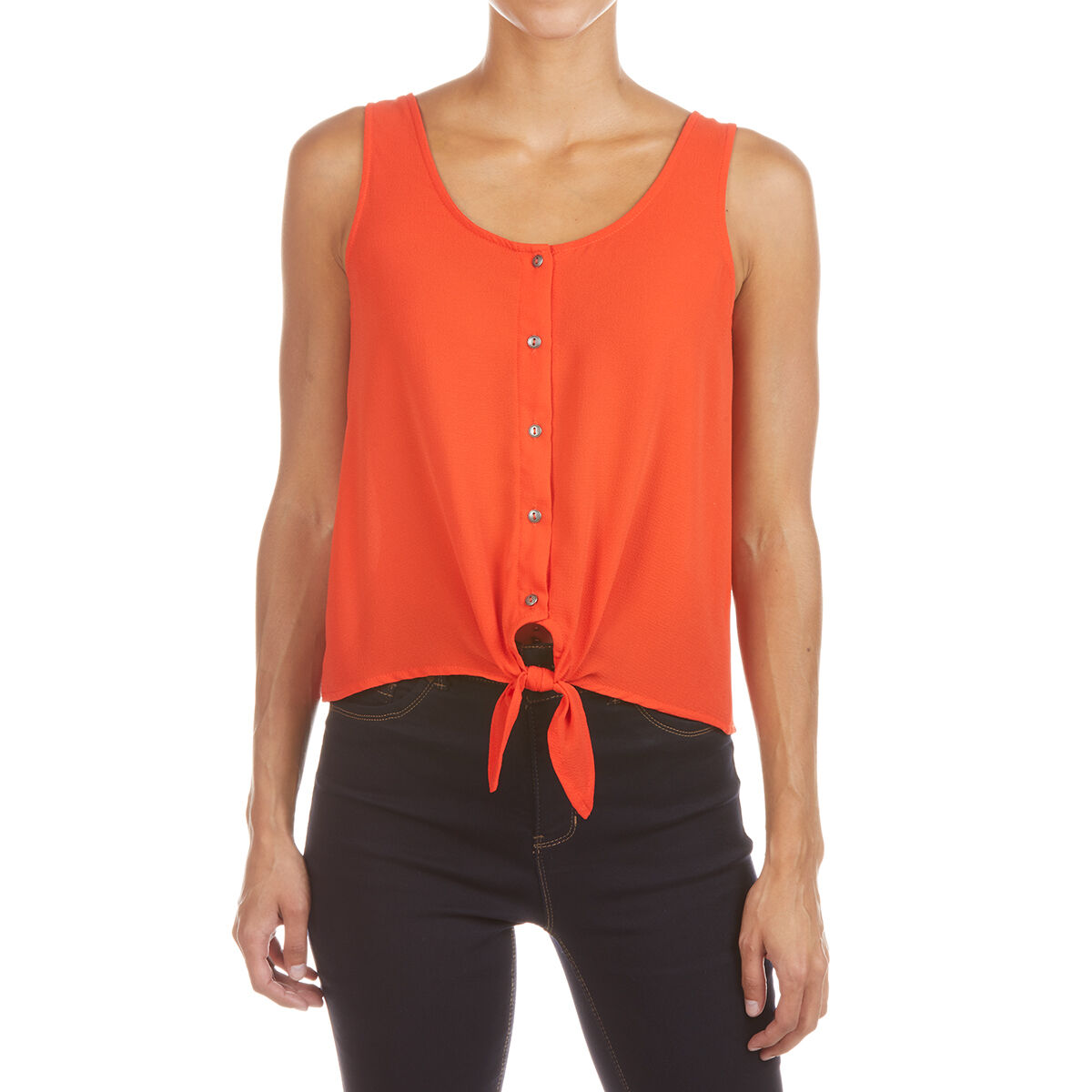 Pink Rose Juniors' Sleeveless Woven Shirt With Button Front And Buttom Tie - Orange, M