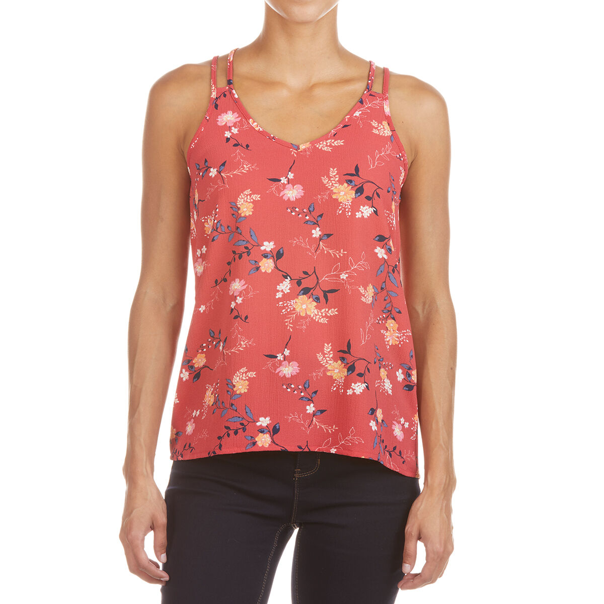 Pink Rose Juniors' Double Shoulder Strap Tank Top - Red, S