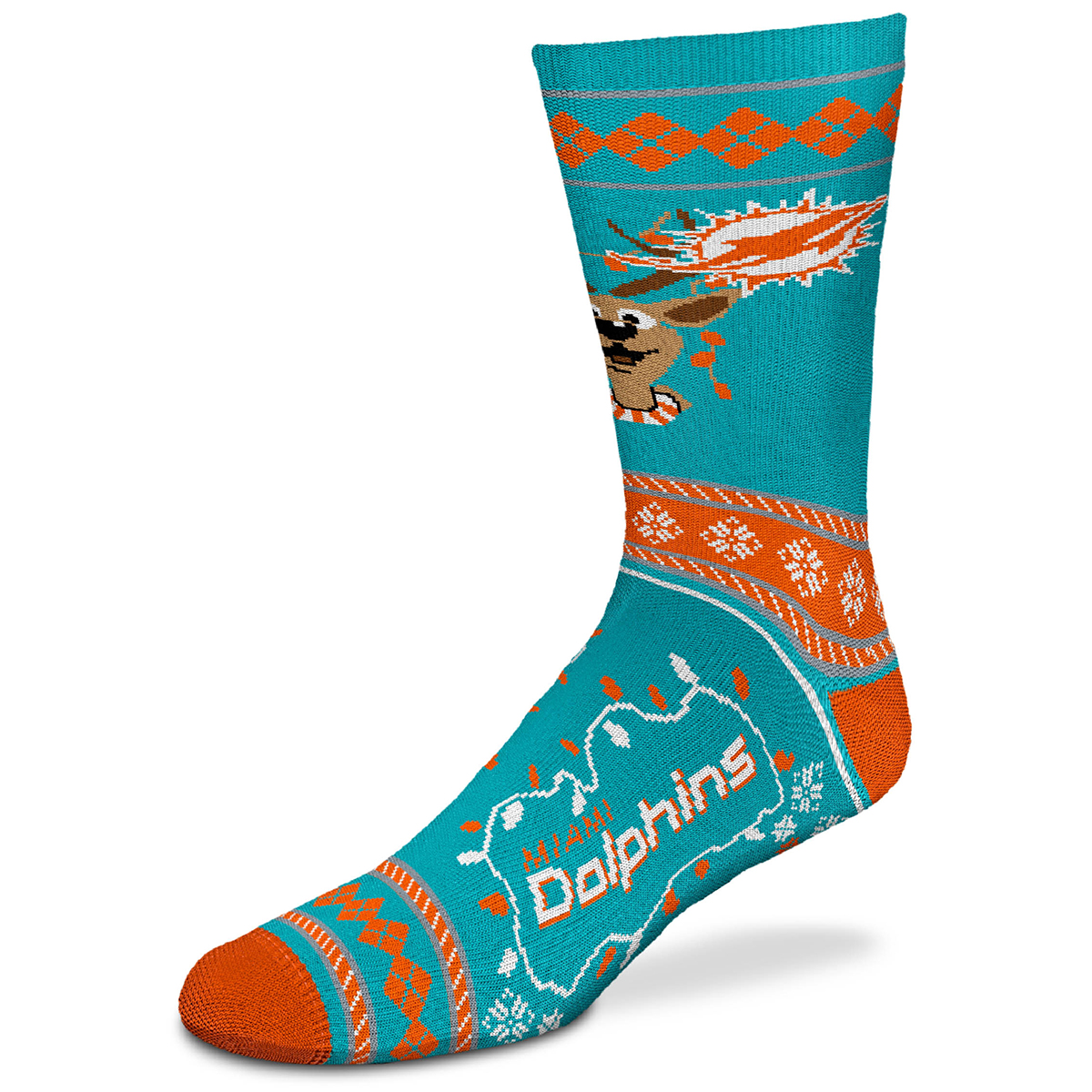 Miami Dolphins Sweater Stride Holiday Reindeer Socks - Green, M