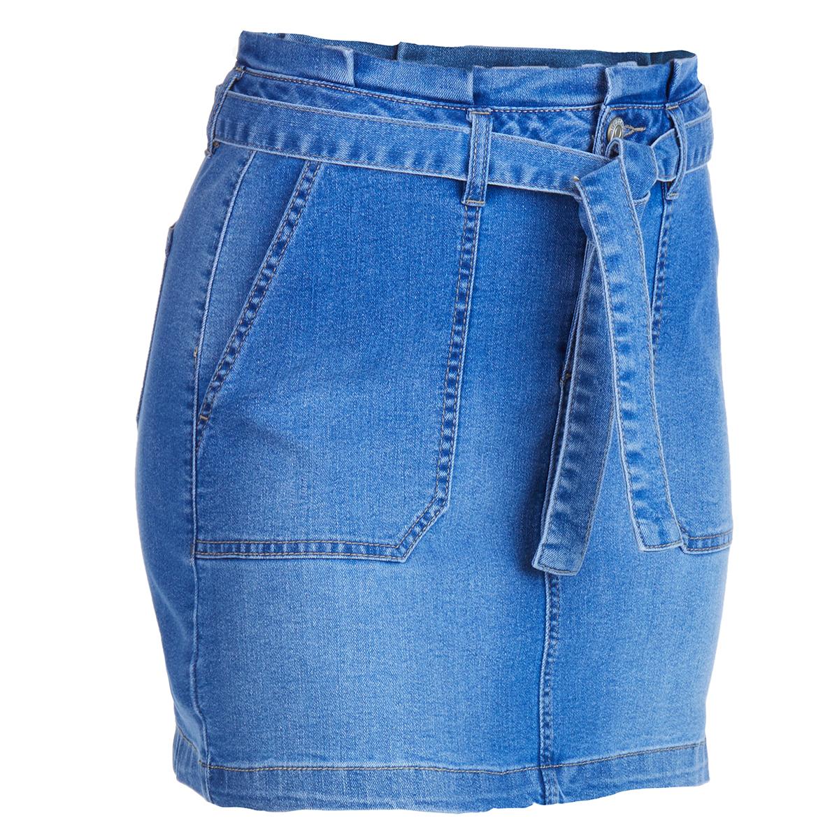 Blue Spice Juniors' Denim Self Belted Paperbag Skirt