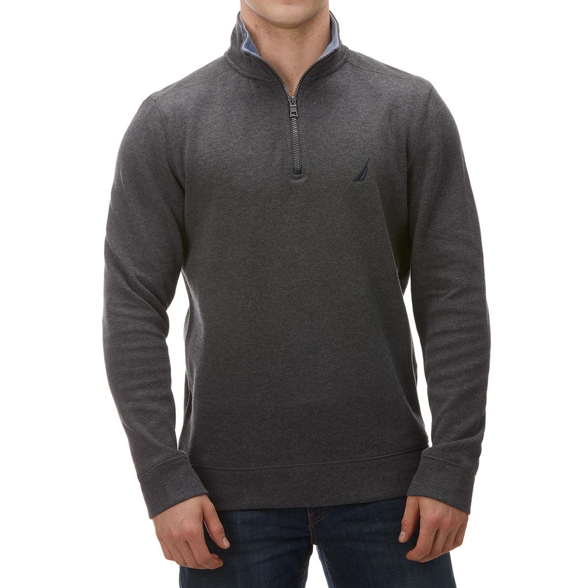 Nautica Men's Classic Fit Quarter Zip Pullover Fleece - Black, L
