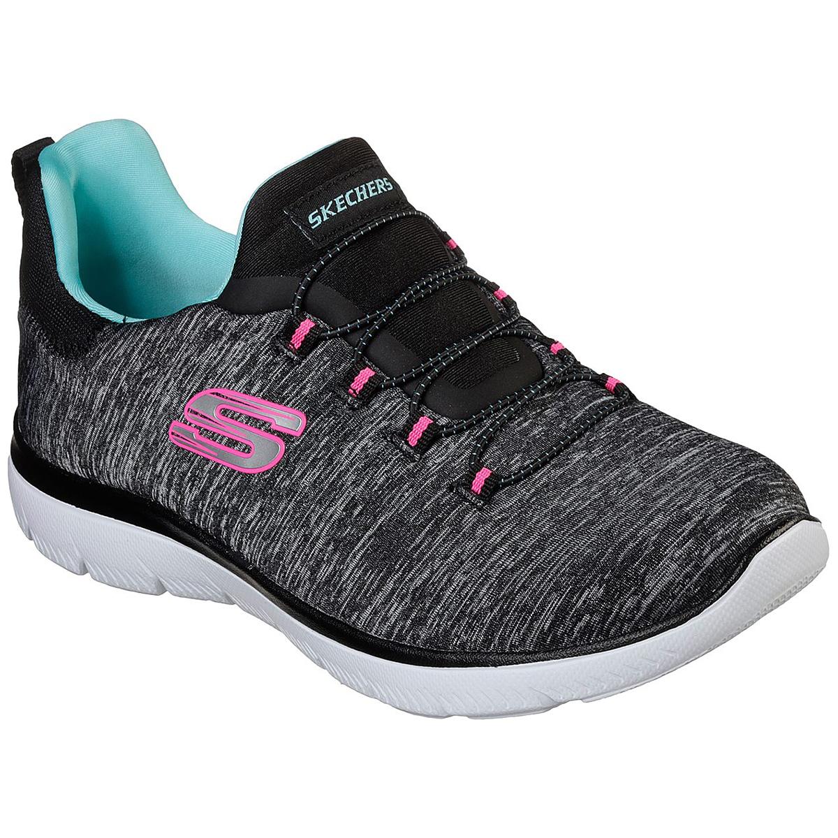 Skechers Women's Summits - Quick Getaway Sneaker - Black, 7.5