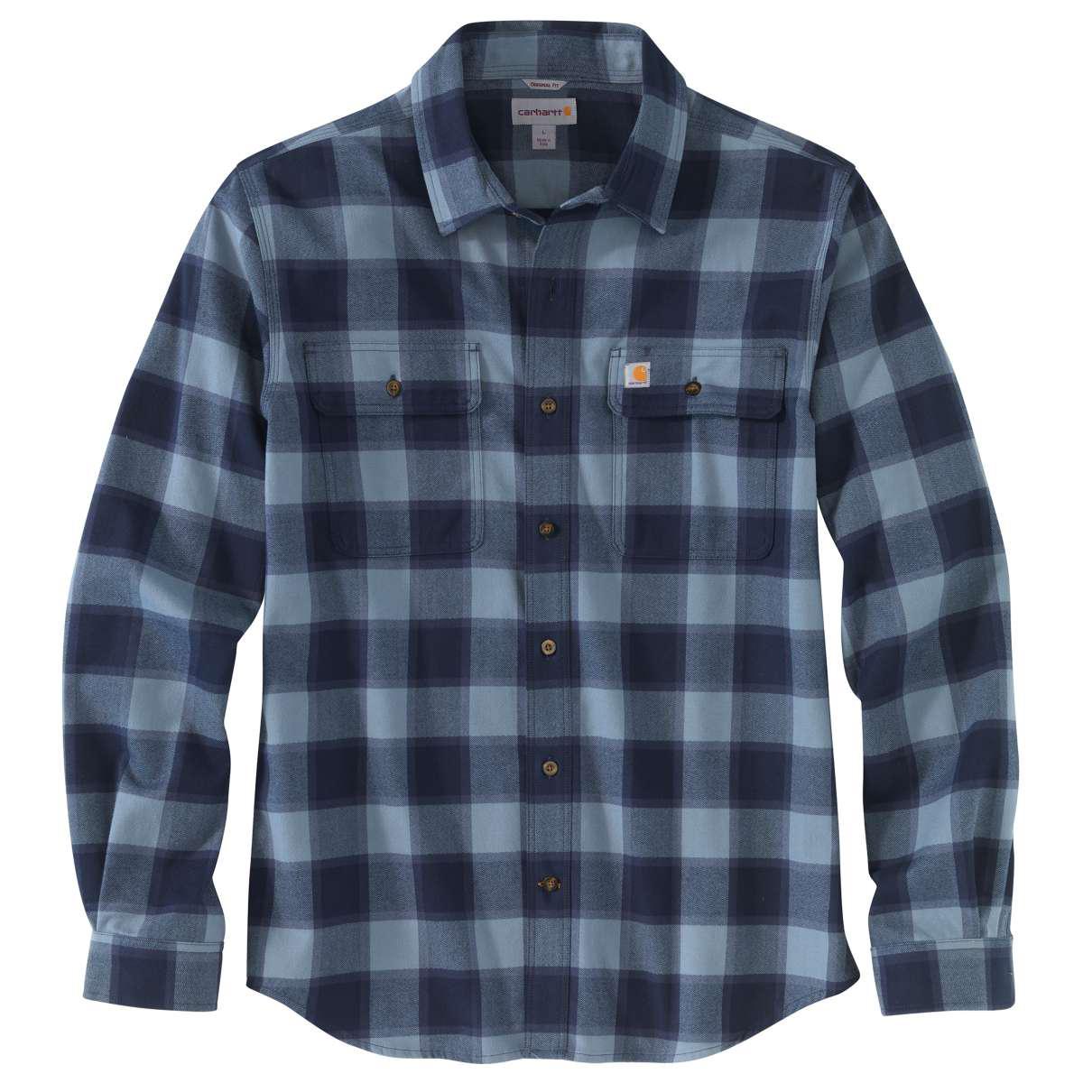 Carhartt Men's Hubbard Flannel Long-Sleeve Shirt - Blue, S