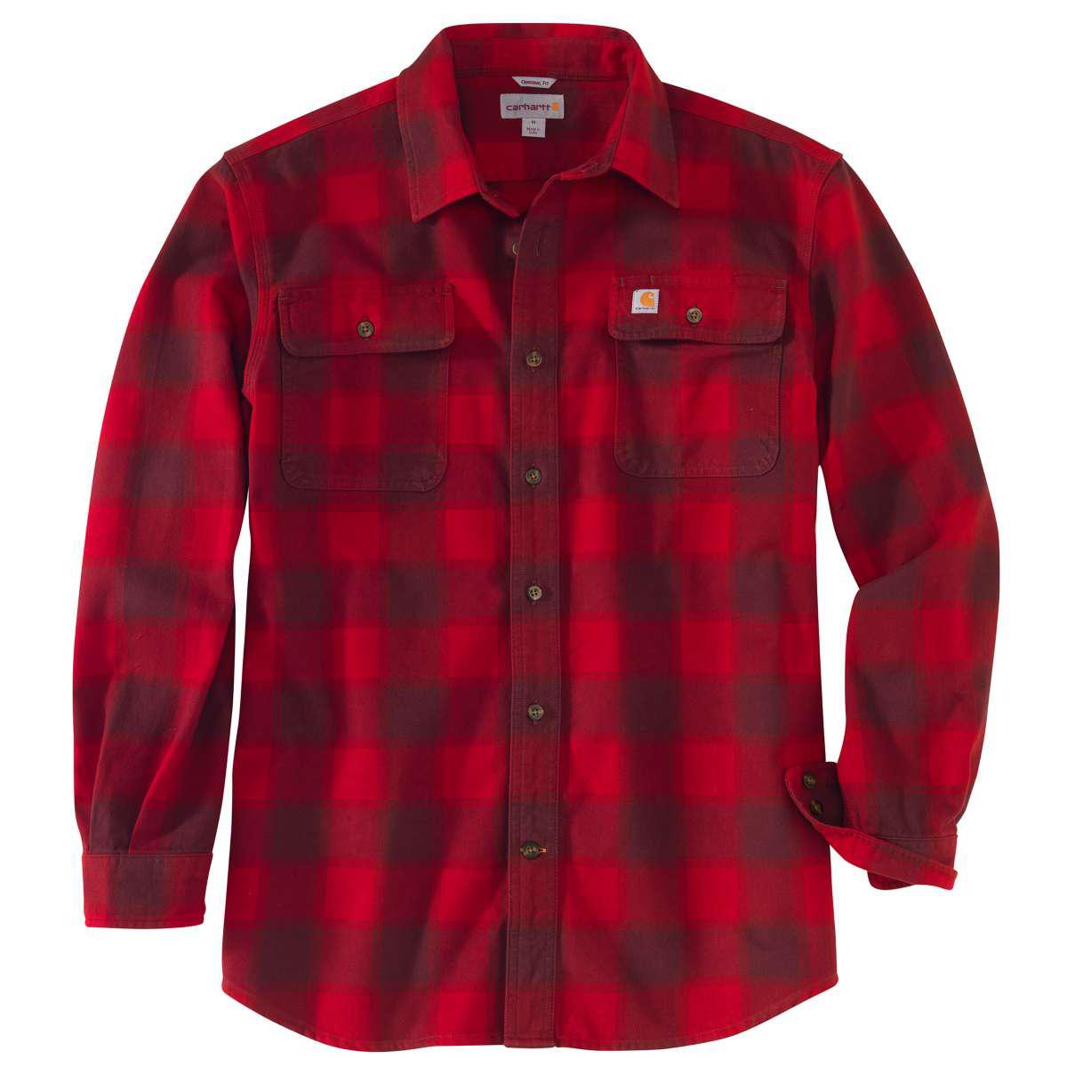 Carhartt Men's Hubbard Flannel Long-Sleeve Shirt - Red, S