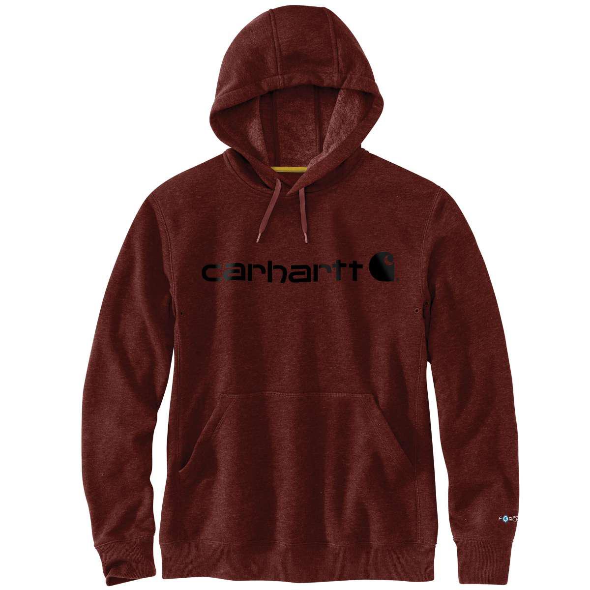 Carhartt Men's Delmont Signature Graphic Hoooded Sweatshirt - Red, S
