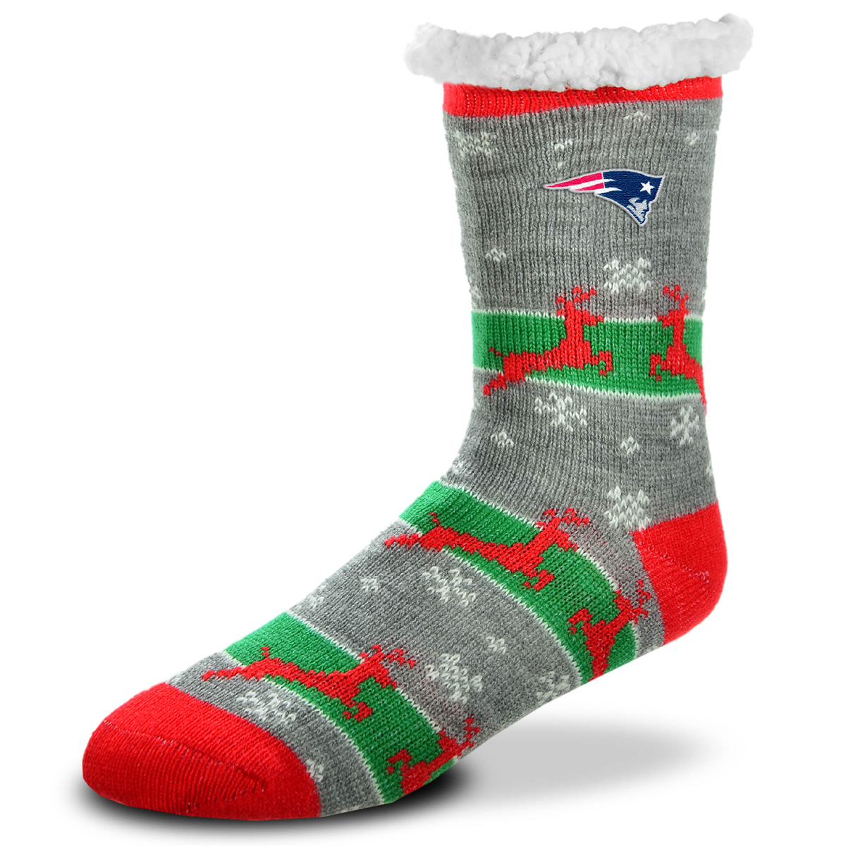 New England Patriots Men's Sherpa Lined Holiday Reindeer Socks