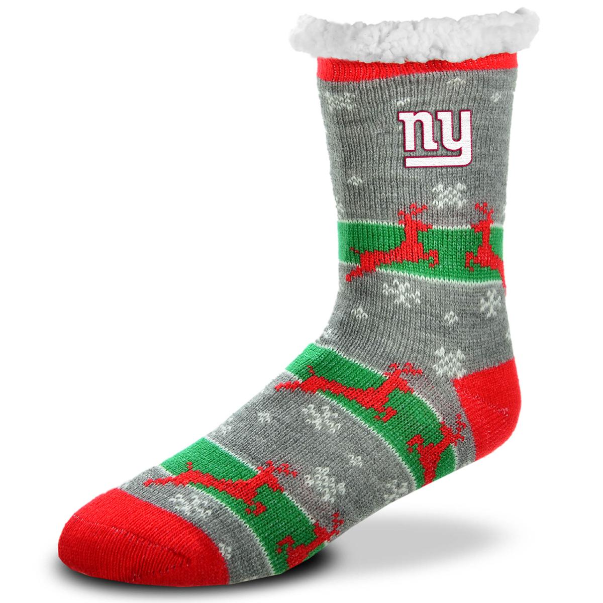 New York Giants Unisex Sherpa Lined Holiday Reindeer Socks