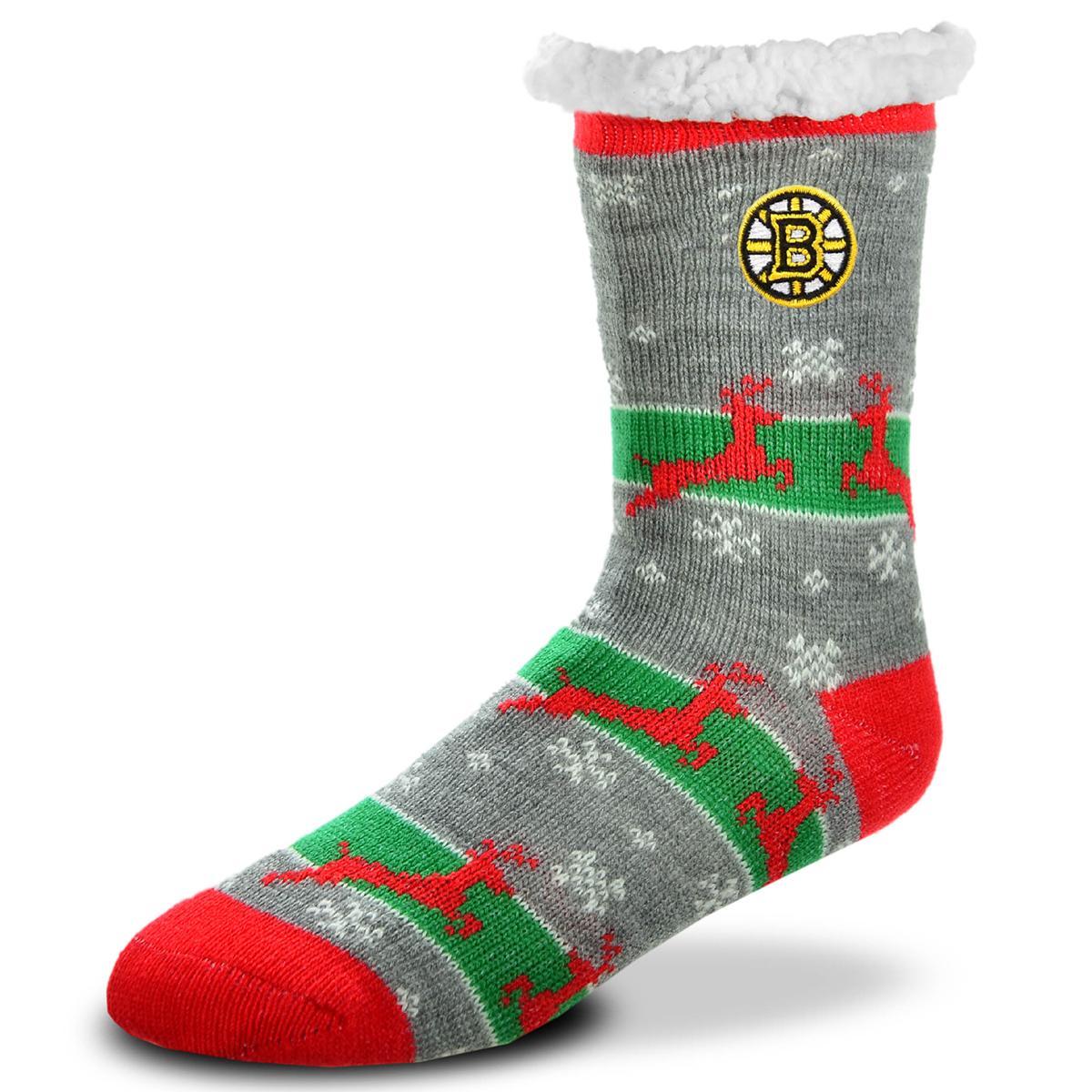 Boston Bruins Unisex Sherpa Lined Holiday Reindeer Socks