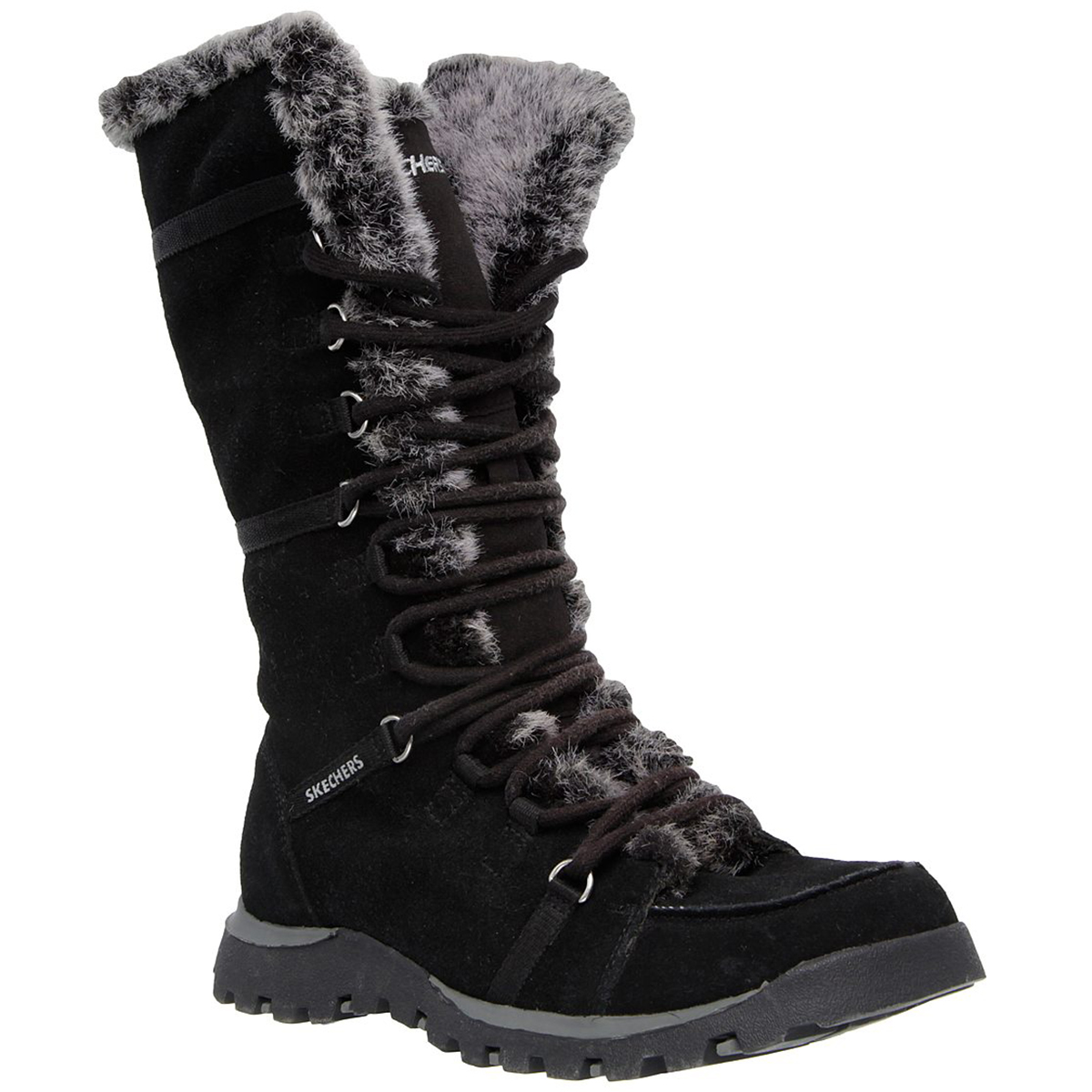 Skechers Women's Grand Jams Unlimited Lace Up Boots - Black, 8.5