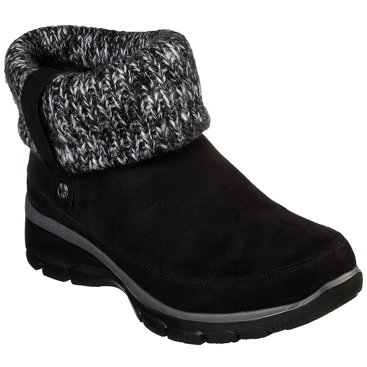 Skechers Women's Easy Going Heighten Fold Over Knit Collar Bootie - Black, 7