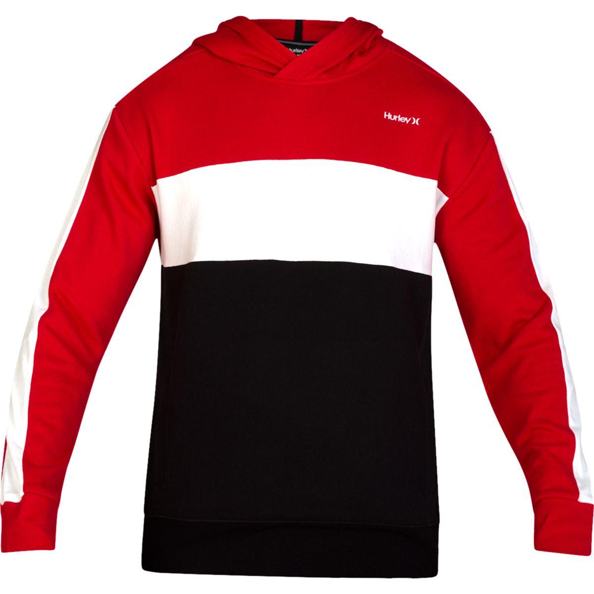 Hurley Men's Blocked Fleece Pullover Hoodie - Red, L
