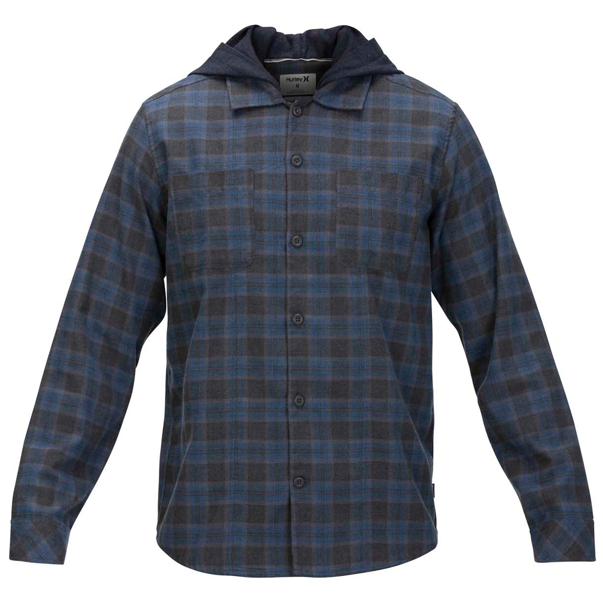 Hurley Men's Crowley Hooded Long-Sleeve Shirt - Blue, L