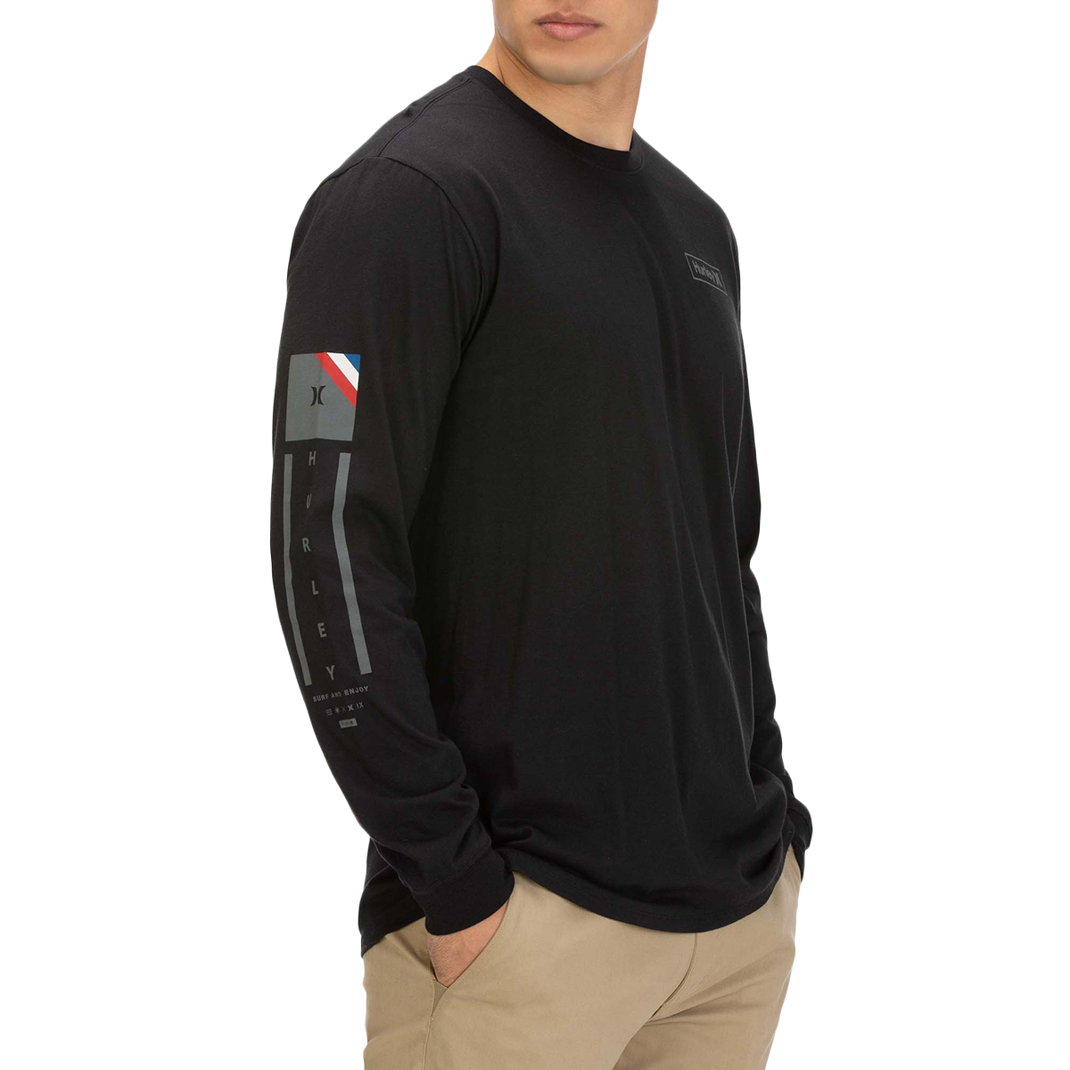 Hurley Men's Premium Fit Right Arm Long-Sleeve Tee - Black, L