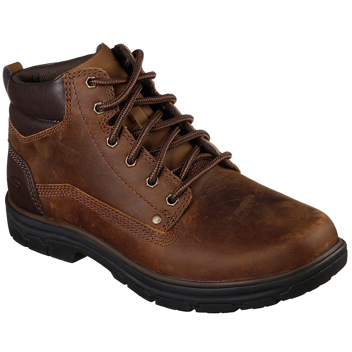 Skechers Men's Segment Garnet Round Toe Lace Up Boots, Relaxed Fit - Brown, 9.5