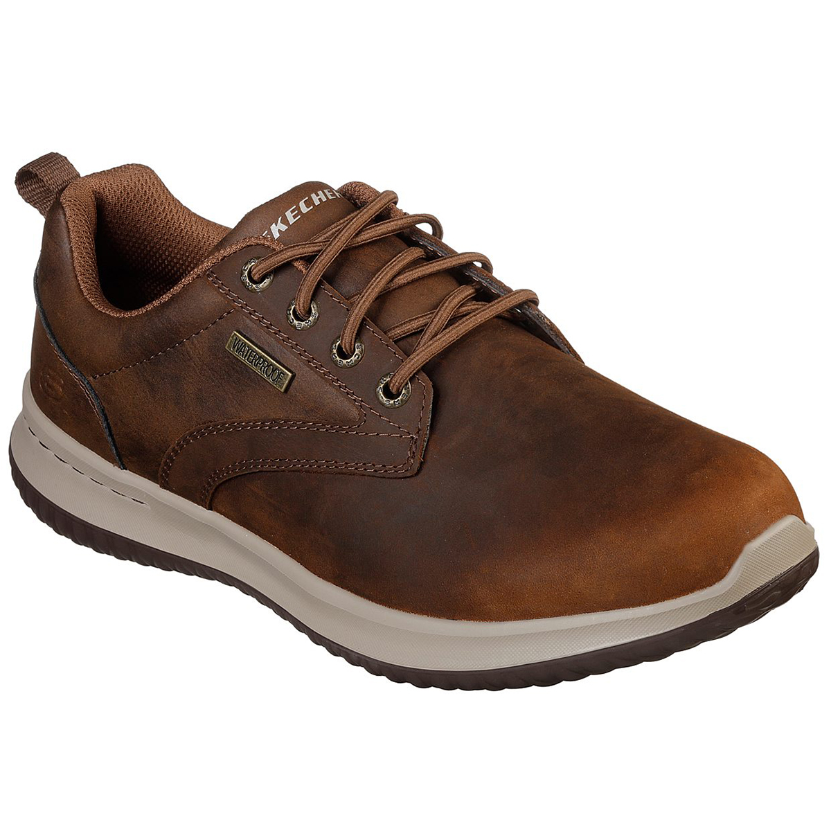 Skechers Men's Delson Antigo Waterproof Leather Slip On Shoes With Bungee Lace - Brown, 9